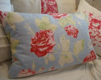 French Cottage Pillow/Shabby Chic/Flower/Red Roses/Blue Cotton/12 x 16 Insert/Decorative Pillow/Throw Pillow