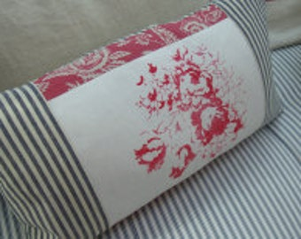 French CottaGe Pillow/Cabbages and Roses Fabric/Paris ReD Toile/Black TiCKiNG/Shabby Chic/Decorative Lumbar Pillow/Throw Pillow