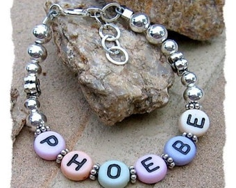 Boutique Child ID Bracelet - Sterling & Bali Silver, Acrylic Letter Beads