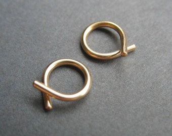 Itty Bitty Ribbon Hoops - Silver or 14k Gold Fill - Threader hoops - Classic Hoops - Tiny Hoops - Sleeper hoops - Cartilage hoops