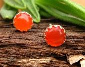 Orange Carnelian Earrings: Sterling Silver Gemstone Stud Earrings, 4mm - Free Gift Wrapping