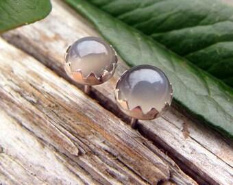 Gray Moonstone Earrings: Sterling Silver Gemstone Stud Earrings, 4mm - Free Gift Wrapping