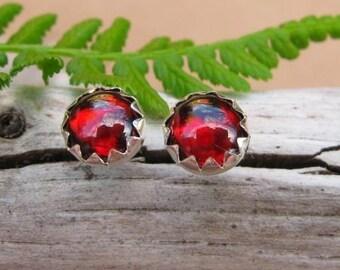 Orissa Garnet Stud Earrings, Red Cabochon Earrings in Silver, 6mm