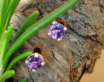 Amethyst Earrings in Gold, Silver, Platinum, or Palladium with Genuine Gems, 3mm - Free Gift Wrapping