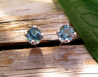London Blue Topaz Earrings in Gold, Silver, Platinum, or Palladium with Genuine Gems, 3mm - Free Gift Wrapping
