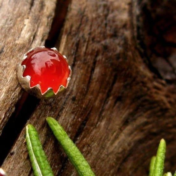 Red Carnelian Earrings: Sterling Silver Gemstone Stud Earrings, 6mm - Free Gift Wrapping