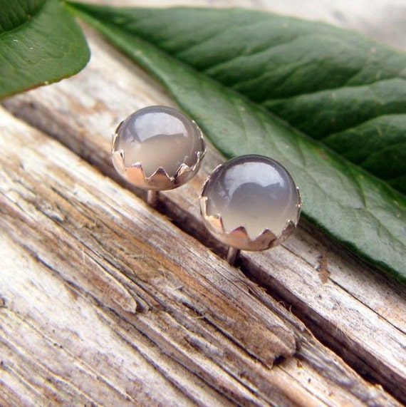 Gray Moonstone Stud Earrings, Cabochon Earrings in Silver, 4mm