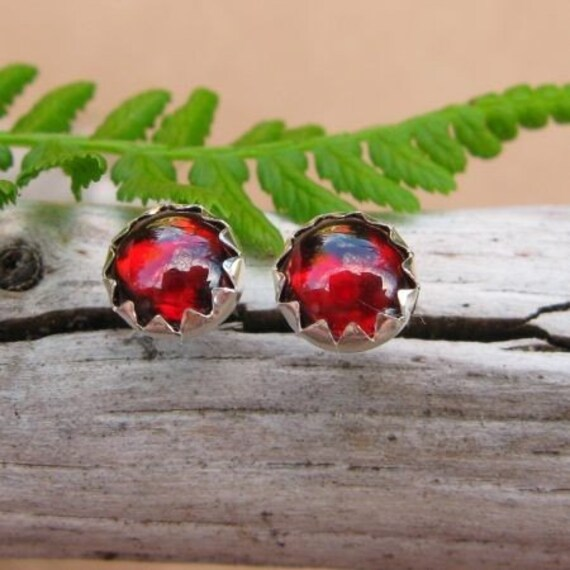 Orissa Garnet Earrings: Sterling Silver Gemstone Stud Earrings, 6mm - Free Gift Wrapping
