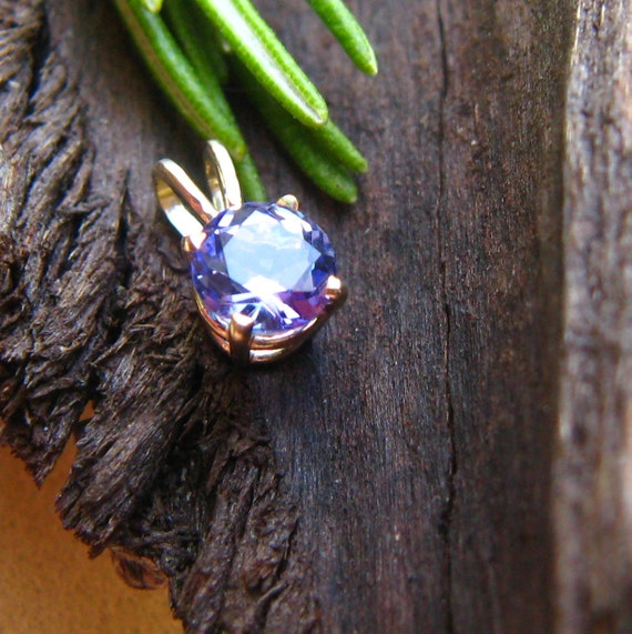 Tanzanite Pendant in 14k Yellow Gold, Fair Trade and Recycled, 5mm - Free Gift Wrapping