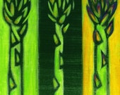 Kitchen Art Green Asparagus Vegetable Painting