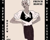 Vintage Sewing Pattern 1930's Bell Sleeve Blouse in Any Size Depew 1126 - PLUS Size Included -INSTANT DOWNLOAD-