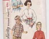Simplicity 3613 Girl's Blouses Vintage Sewing Pattern 24 Bust - Free Pattern Grading E-book Included