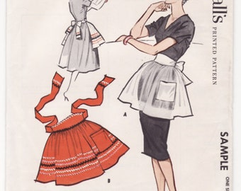 McCall's Sample Apron Vintage 1960's Sewing Pattern Factory Fold