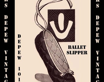 Vintage Sewing Pattern Ballet Slipper Quilted 1940's Style Printable PDF Multi Size Depew 1011 -INSTANT DOWNLOAD-