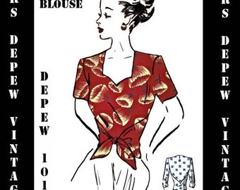 Vintage Sewing Pattern PDF Printable Copy Ladies 1940's Wrap Blouse in Multiple Sizes Depew 1017 -INSTANT DOWNLOAD-