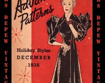 Vintage Sewing Pattern Catalog Advance Holiday Styles December 1936 Digital Copy PDF -INSTANT DOWNLOAD-
