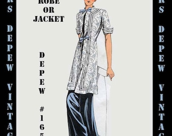 Vintage Sewing Pattern 1930's French Robe or Dressing Jacket in Any Size Depew 165 - PLUS Size Included -INSTANT DOWNLOAD-