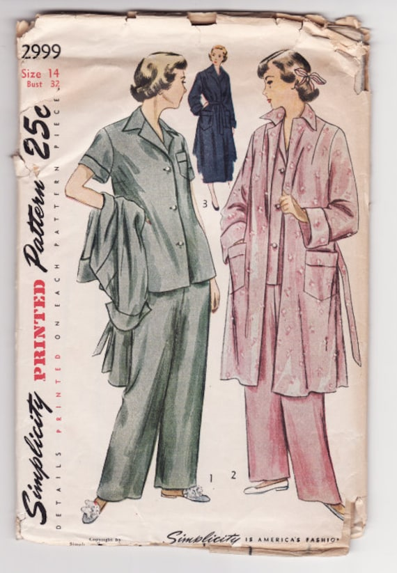 Simplicity 2999 Ladies Pajama Set and Robe Vintage Sewing Pattern Bust 32 Factory Fold - Free Pattern Grading E-book Included