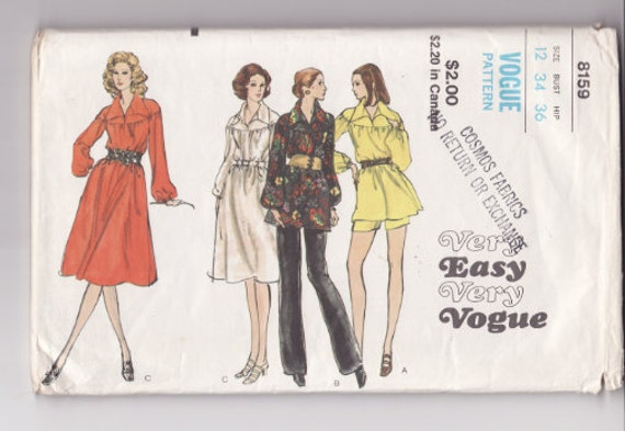 """Vogue 8159 Misses Dress Pants Tunic and Shorts Vintage Sewing Pattern 34"""" Bust - Free Pattern Grading E-book Included"""