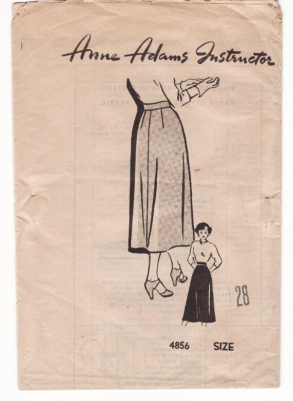"""Vintage Sewing Pattern 1950's Ladies Skirt  28"""" Waist Anne Adams 4856"""