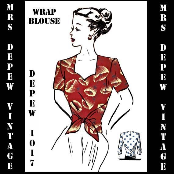 Vintage Sewing Pattern PDF Printable Copy Ladies 1940's Wrap Blouse in Multiple Sizes Depew 1017 -INSTANT DOWNLOAD-