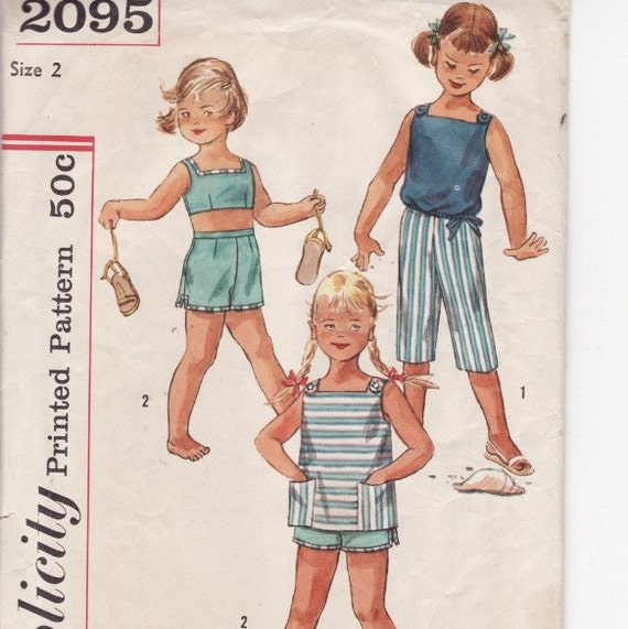 Simplicity 2095 Vintage Child's Sewing Pattern Size 2