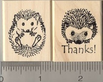 2 pc. Thank You Hedgehog Rubber Stamp Set (7821 & 7823) Wood Mounted