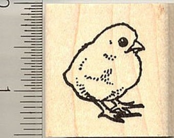 Spring Chick Rubber Stamp C9118 Wood Mounted