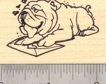 Bulldog Valentine Rubber Stamp G15705 Wood Mounted