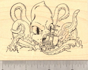 Kraken, Giant Sea Monster Rubber Stamp, Menacing a Ship (Octopus, Squid) M17301 Wood Mounted