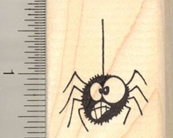 Goofy Hanging Halloween Spider Rubber Stamp C9716 Wood Mounted