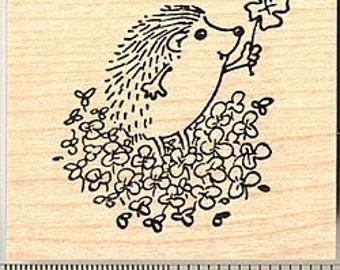 St. Patrick's Day Hedgehog with Four Leaf Clover Rubber Stamp G9114 Wood Mounted, Shamrock