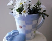 Daisy Blue Cottage decor Pitcher Mothers Day gift Planter and ceramic bunny set French Country flower arrangement daisies Home decor Patio