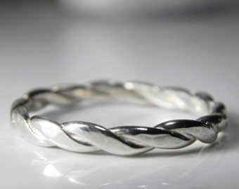 Silver Twist Band Ring - Stackable Wedding Ring - Twist Band Ring - Stack Ring - Unique Sterling Silver Ring - Alternative Wedding Band