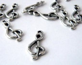 Treble Clef Music Charms Set of 10 Silver Color 27x11mm