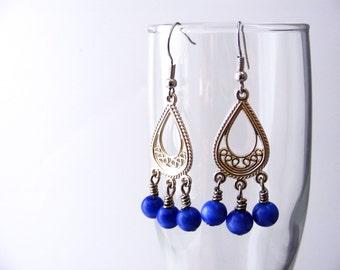 Blue and Silver Chandelier Earrings