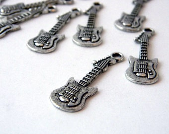 Electric Guitar Charms Set of 10 Silver Color 32x10mm