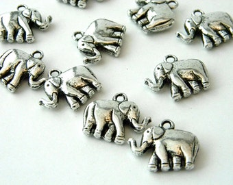 Elephant Charms Double Sided Set of 10 Silver Color 18x21mm