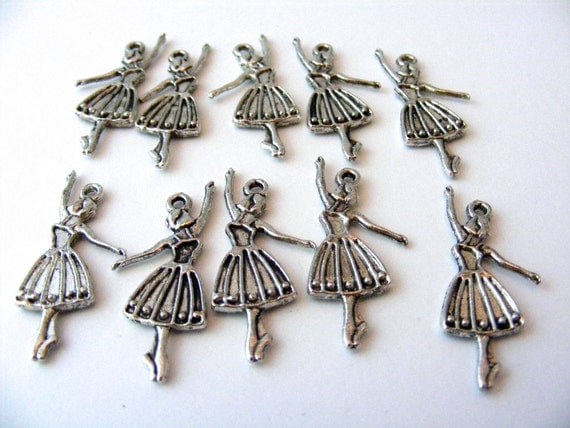 Ballerina Charms Set of 10 Silver Color 29x13mm