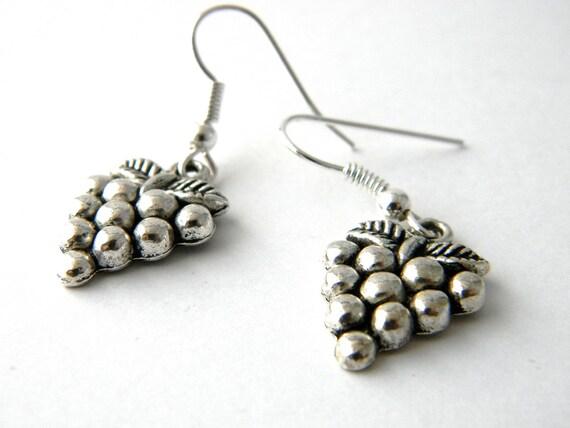 Grape Earrings Silver Color Grape Cluster Earrings Dangle Earrings