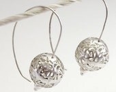 Filigree Earrings, Silver Filigree Earrings, Large ball Earrings, Long Silver Earrings, Lace Earrings, Sterling Silver Earrings, Handmade
