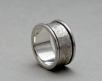 Silver Spinner Ring, Spinning Ring, Spinner Wedding Ring, Mens Ring Silver, Spinning Wedding Band,  Mens Spinner Rings, Sterling Silver Ring