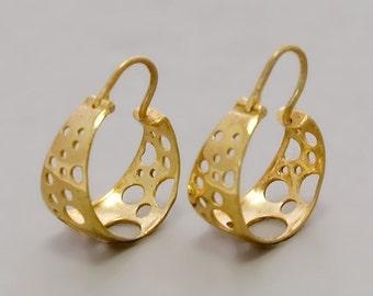 Gold Earrings, Gold Hoops Earrings, Gold Drop Earring, Small Gold Hoops, Wide Gold Earrings, Gypsy Gold Earrings, Bubbles Earrings Simple