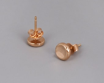 Solid Rose Gold Stud Earrings, 9K Rose Gold Earrings, Pebbel Earrings, Tiny Earrings, Red Gold Earrings, Small Round Studs, Dainty Earrings