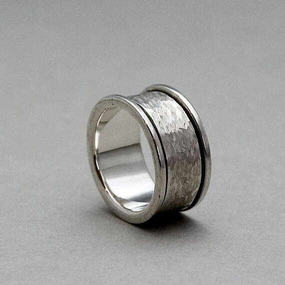 silver spinner ring spinning ring spinner wedding ring mens