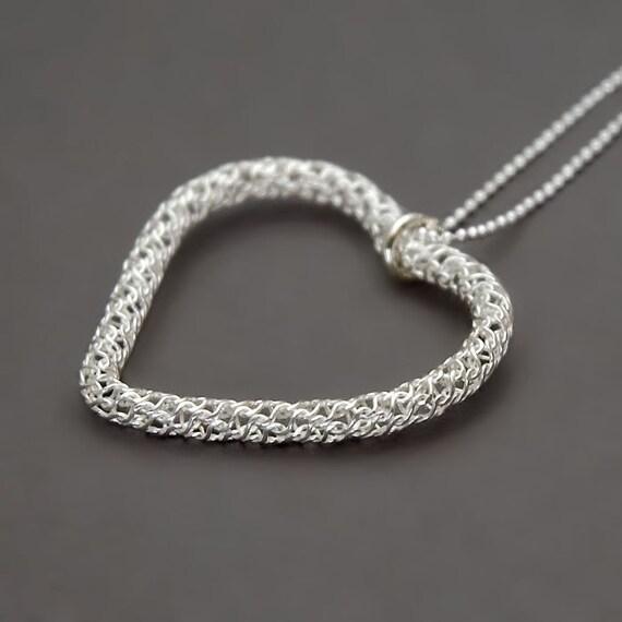 Large Heart Necklace, Filigree Necklace, Sterling Silver Necklace, Delicate Necklace, Large Pendant Necklace, Statement Necklace Unique