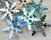 Snowflake Sequin Hair Pins - set of 5 - Winter White, Silver, Blue Metallic - Frozen Cosplay