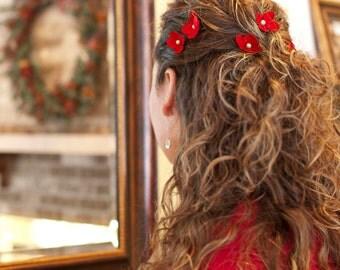 Hair Pins Red Flower Cream Swarovski Pearl Poppy (set of 5 bobby pins)