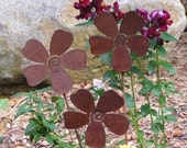 3 Rusty Metal Flowers Garden Art Yard Stake Set