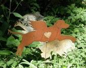 Rusty Finish Metal Garden Art Labrador Retriever Lab Dog Angel Memorial Yard Stake